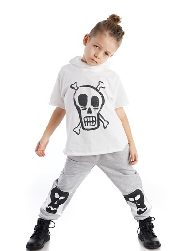 Colorinas Mask Hoody Baskılı T-Shirt Beyaz